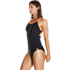 speedo Fit PowerForm Pro Bañador Mujer, black/fluo orange